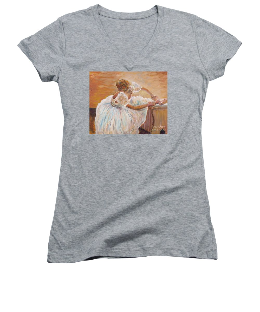 Dancer Women's V-Neck T-Shirt featuring the painting Kaylea by Nadine Rippelmeyer
