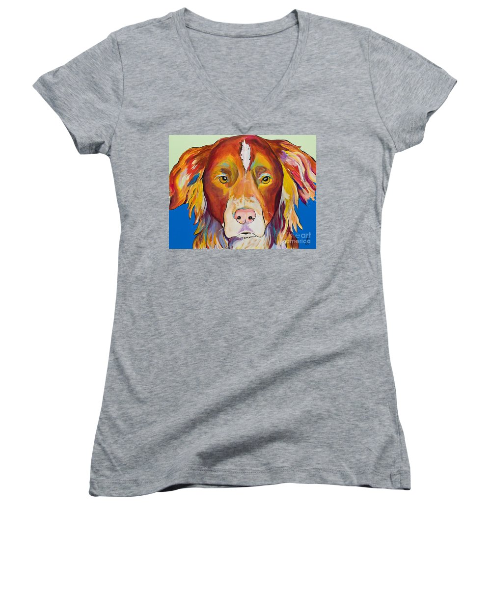 Australian Border Collie Women's V-Neck T-Shirt featuring the painting Keef by Pat Saunders-White