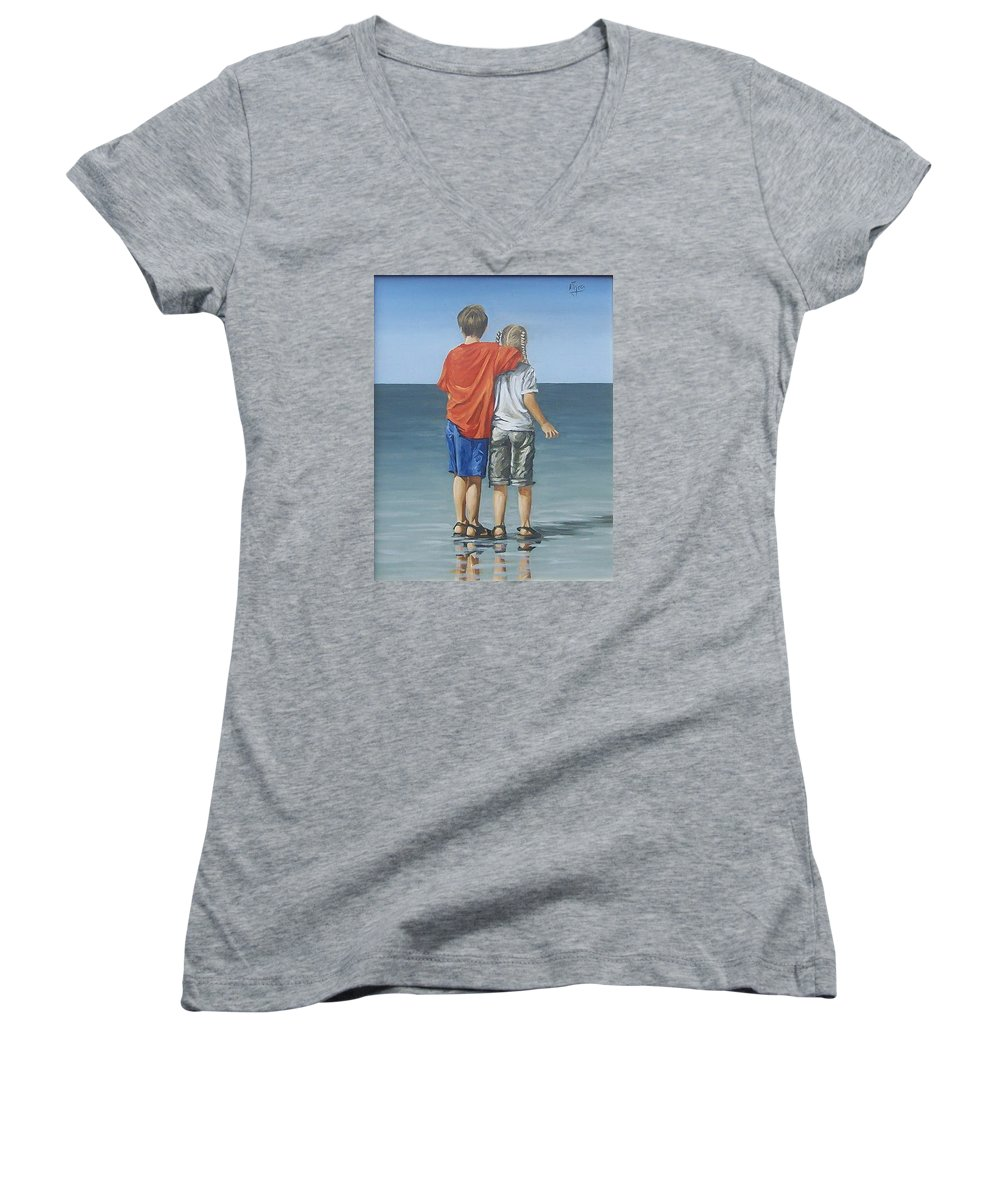 Kids Women's V-Neck T-Shirt featuring the painting Kids by Natalia Tejera
