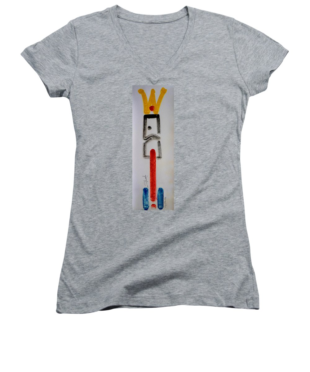 Figure Women's V-Neck T-Shirt featuring the drawing King by Charles Stuart