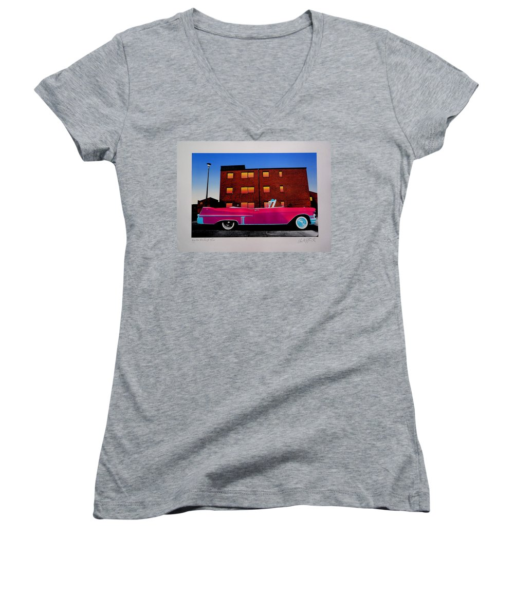 Women's V-Neck T-Shirt featuring the photograph King Elvis Has Surely Come by Charles Stuart