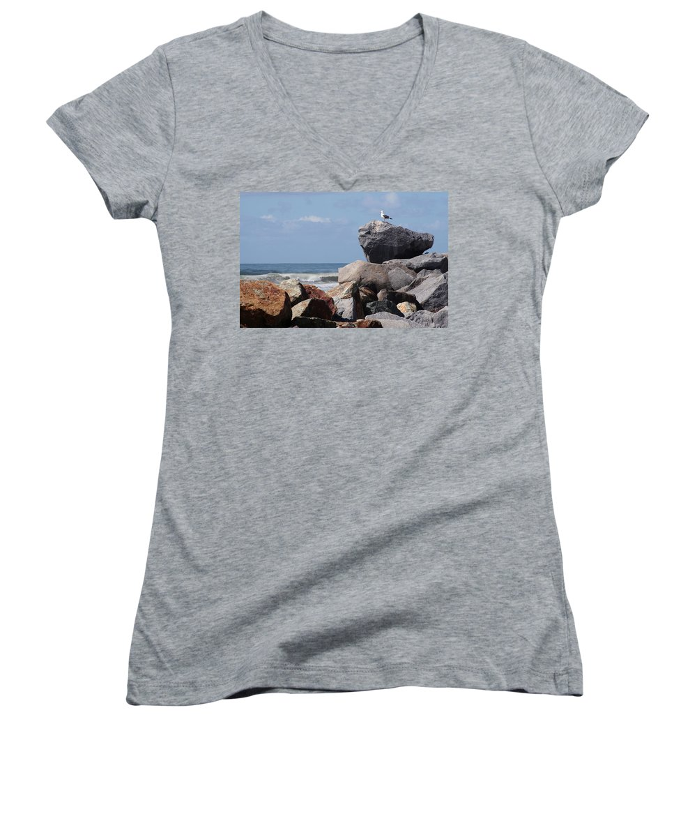 Beach Women's V-Neck (Athletic Fit) featuring the photograph King Of The Rocks by Margie Wildblood