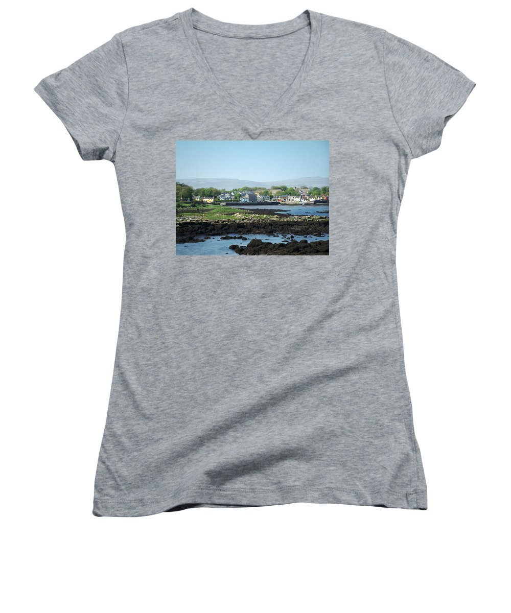 Irish Women's V-Neck T-Shirt featuring the photograph Kinvara Seaside Village Galway Ireland by Teresa Mucha