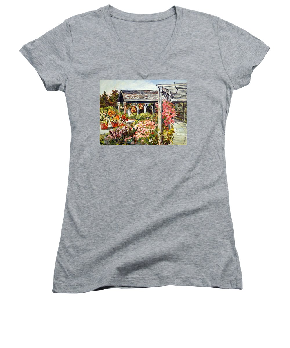 Landscape Women's V-Neck (Athletic Fit) featuring the painting Klehm Arboretum I by Alexandra Maria Ethlyn Cheshire