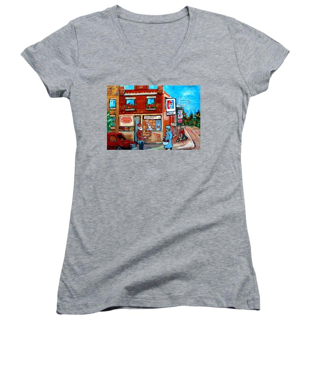 Kosher Bakery Women's V-Neck T-Shirt featuring the painting Kosher Bakery On Hutchison Street by Carole Spandau