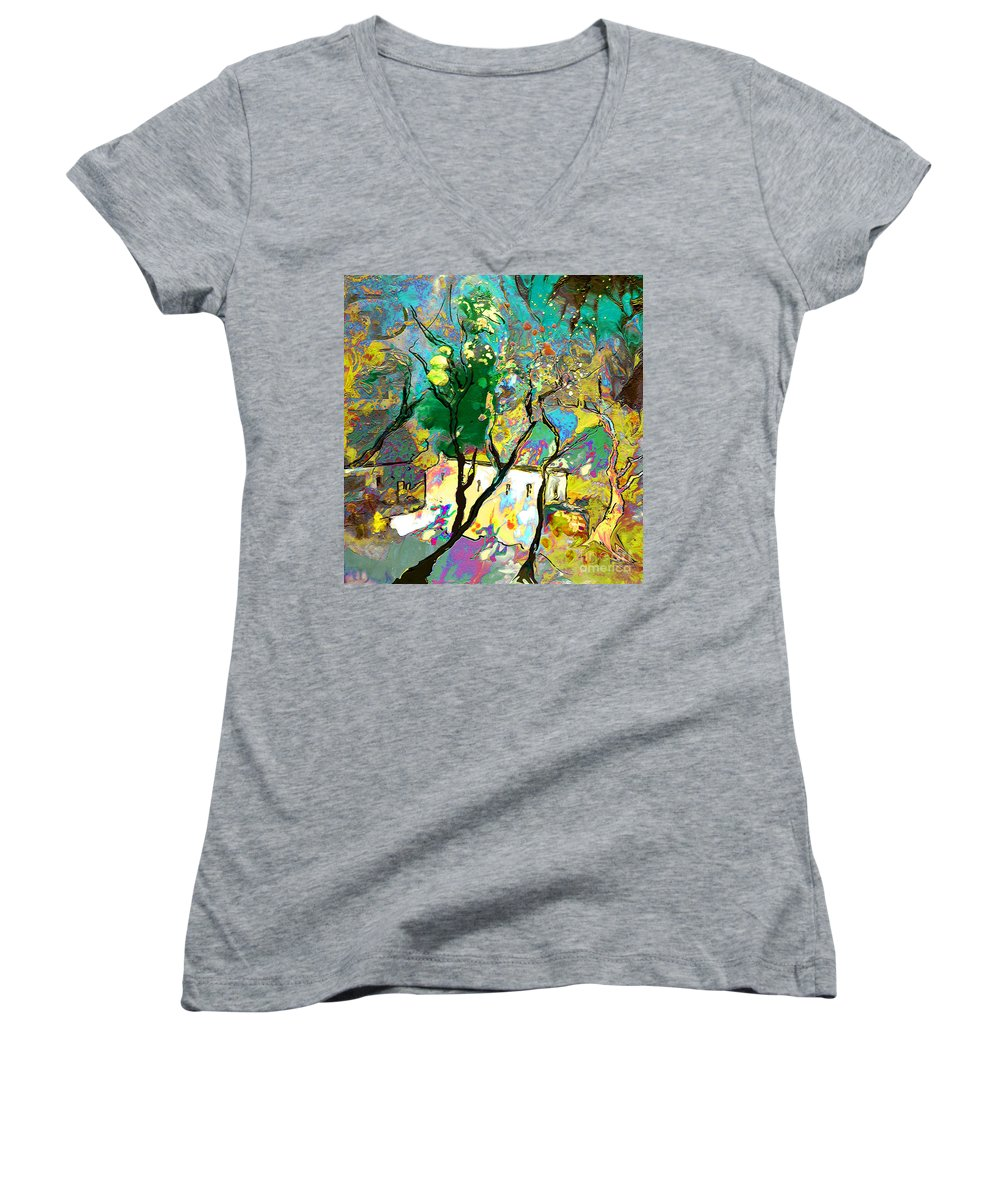 Miki Women's V-Neck T-Shirt featuring the painting La Provence 16 by Miki De Goodaboom
