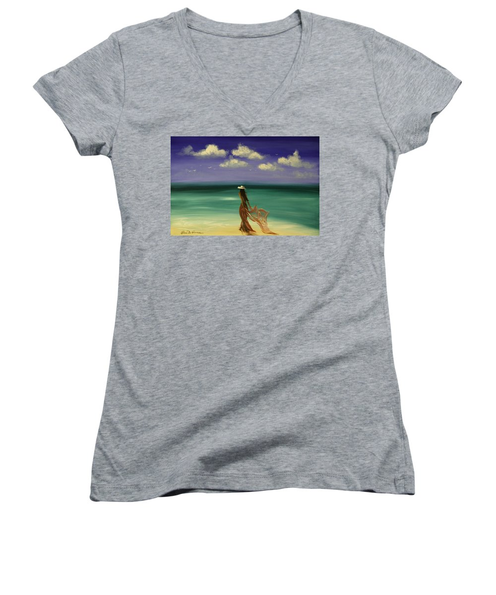 Nice Women's V-Neck T-Shirt featuring the painting Lady In Red by Gina De Gorna