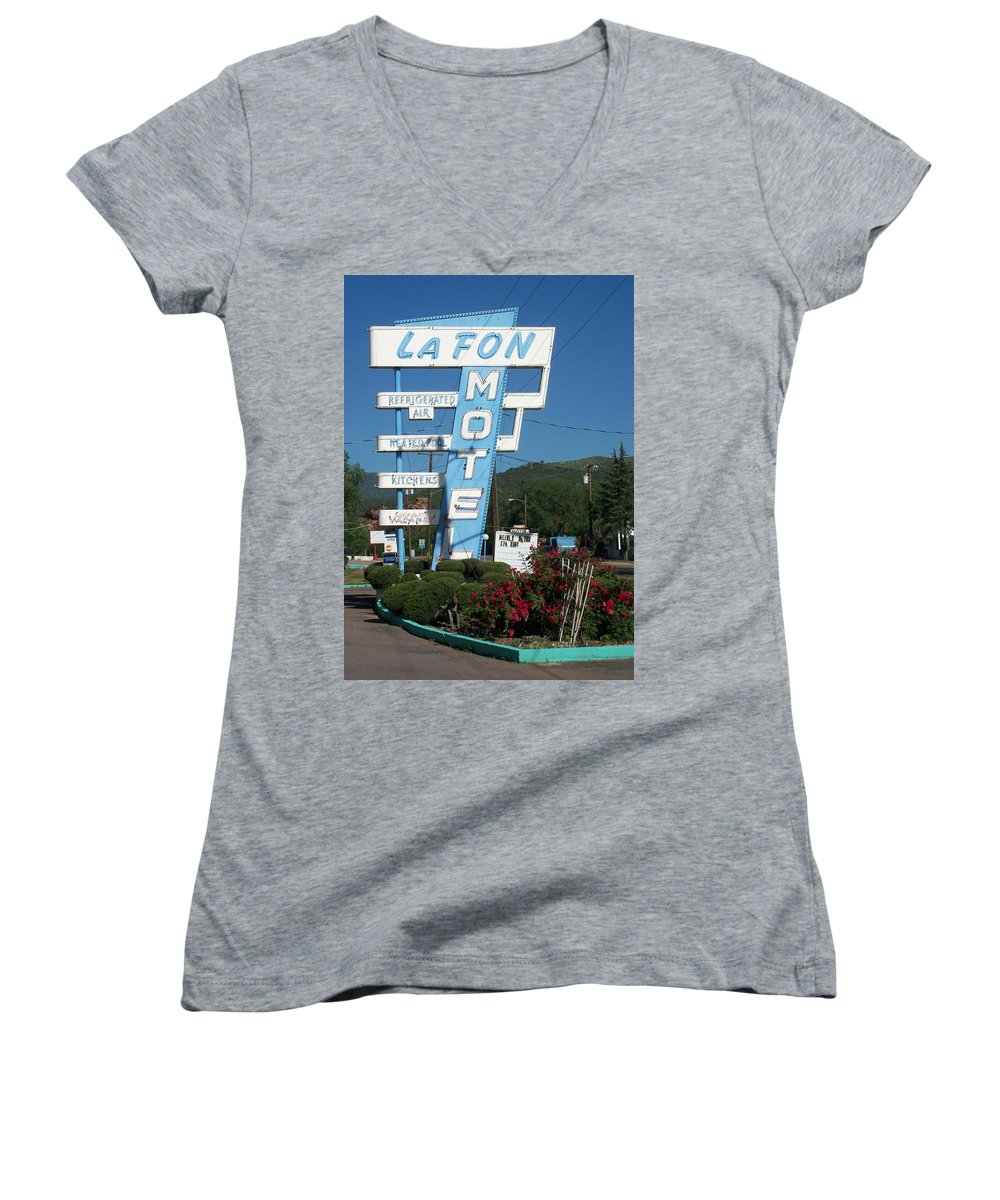 Vintage Motel Signs Women's V-Neck T-Shirt featuring the photograph Lafon Motel by Anita Burgermeister