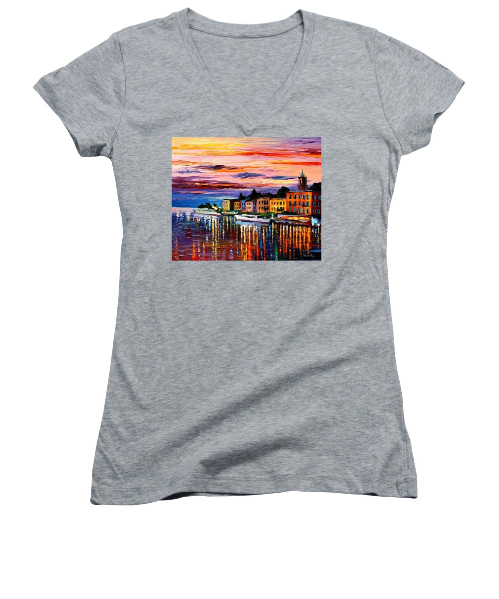 Cityscape Women's V-Neck T-Shirt featuring the painting Lake Como - Bellagio by Leonid Afremov