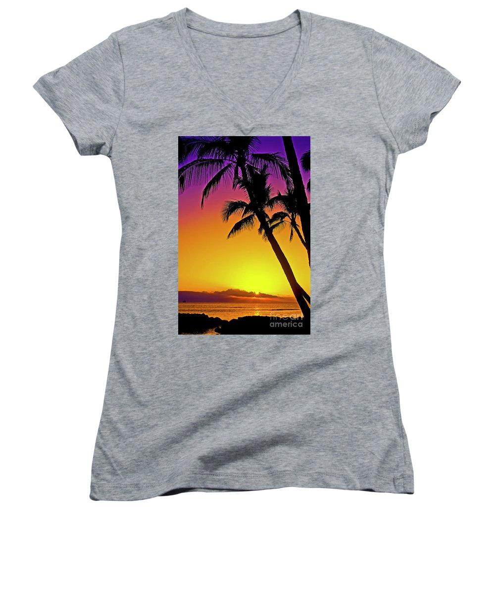 Sunset Women's V-Neck T-Shirt featuring the photograph Lanai Sunset II Maui Hawaii by Jim Cazel