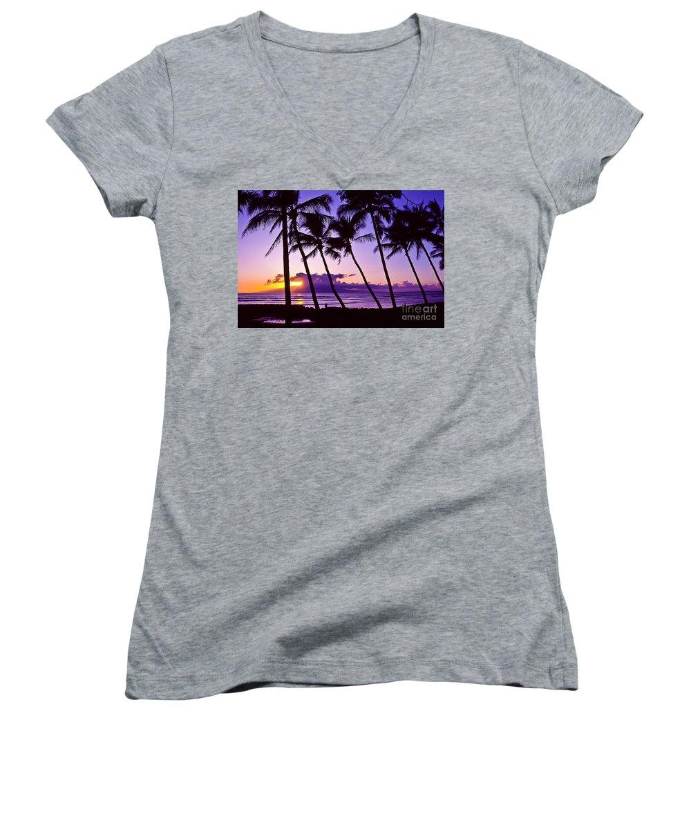 Landscapes Women's V-Neck T-Shirt featuring the photograph Lanai Sunset by Jim Cazel