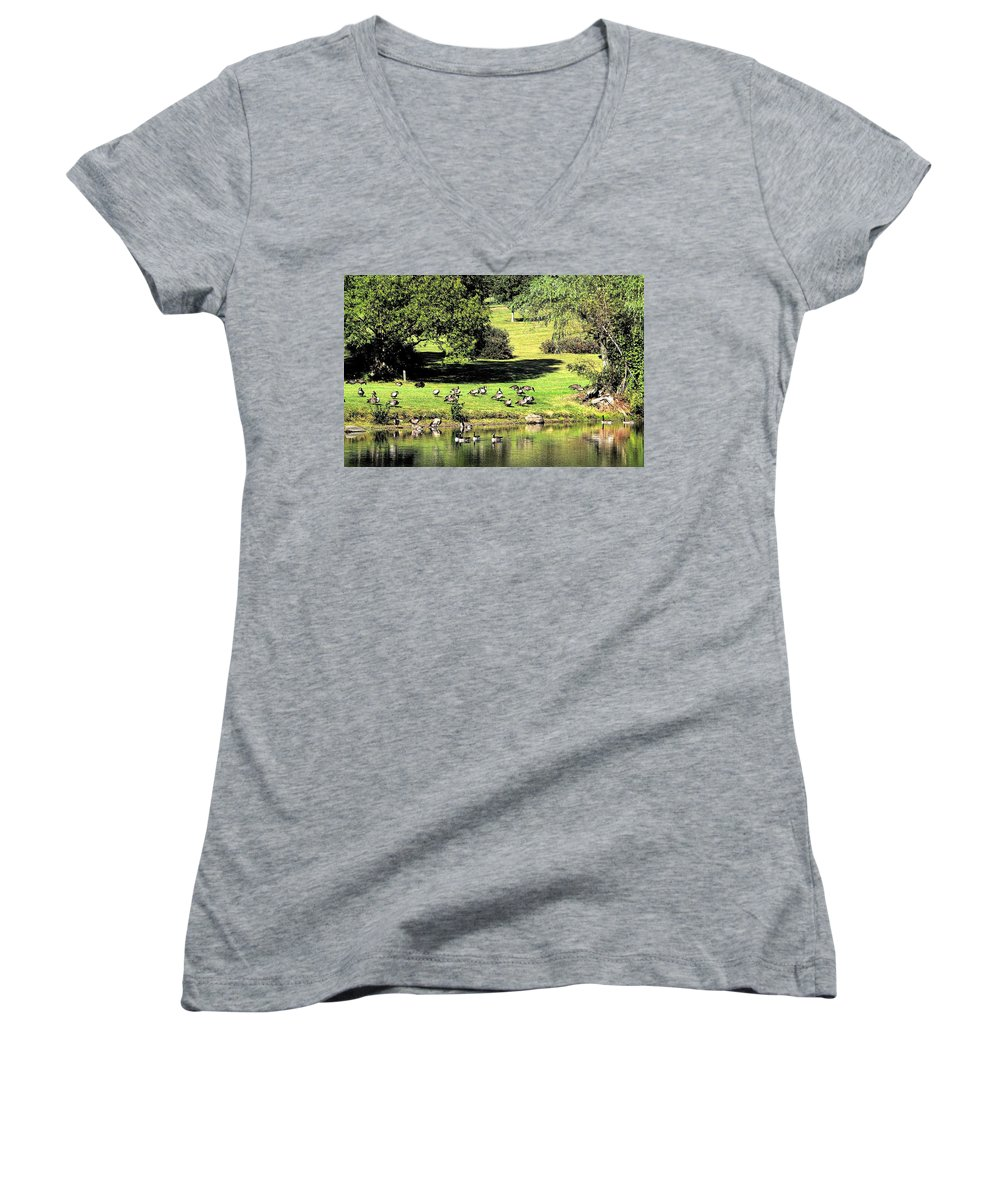 Bird Women's V-Neck (Athletic Fit) featuring the photograph Last Days Of Summer by Gaby Swanson