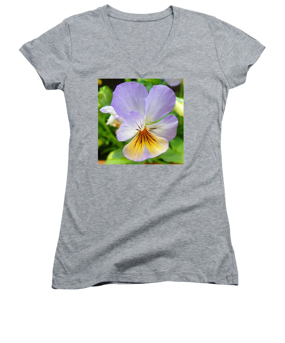 Pansy Women's V-Neck T-Shirt featuring the photograph Lavender Pansy by Nancy Mueller