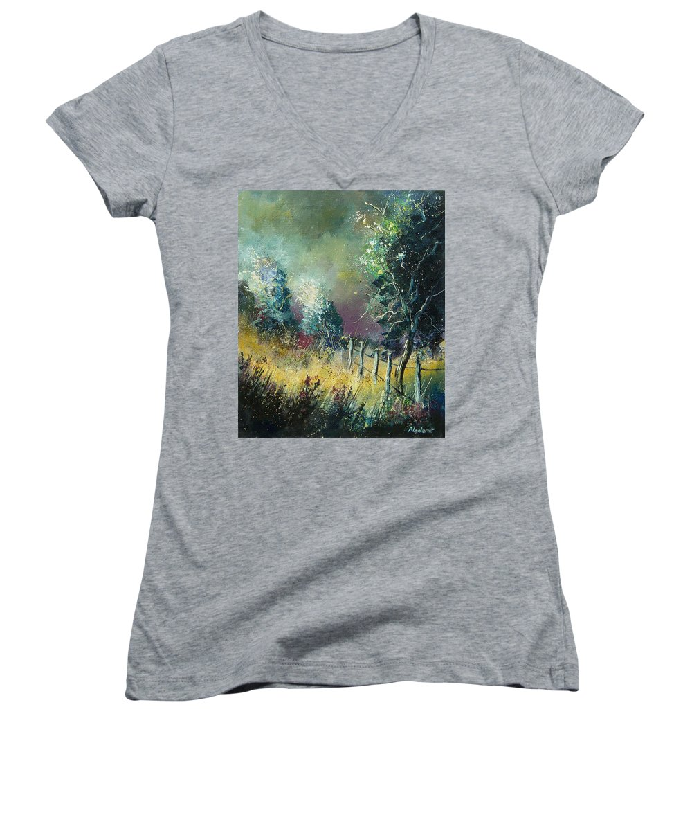 Landscape Women's V-Neck T-Shirt featuring the painting Light On Trees by Pol Ledent