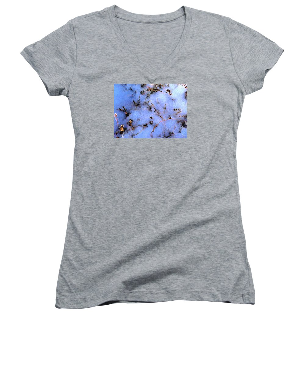 Abstract Women's V-Neck T-Shirt featuring the digital art Light Snow In The Woods by Dave Martsolf