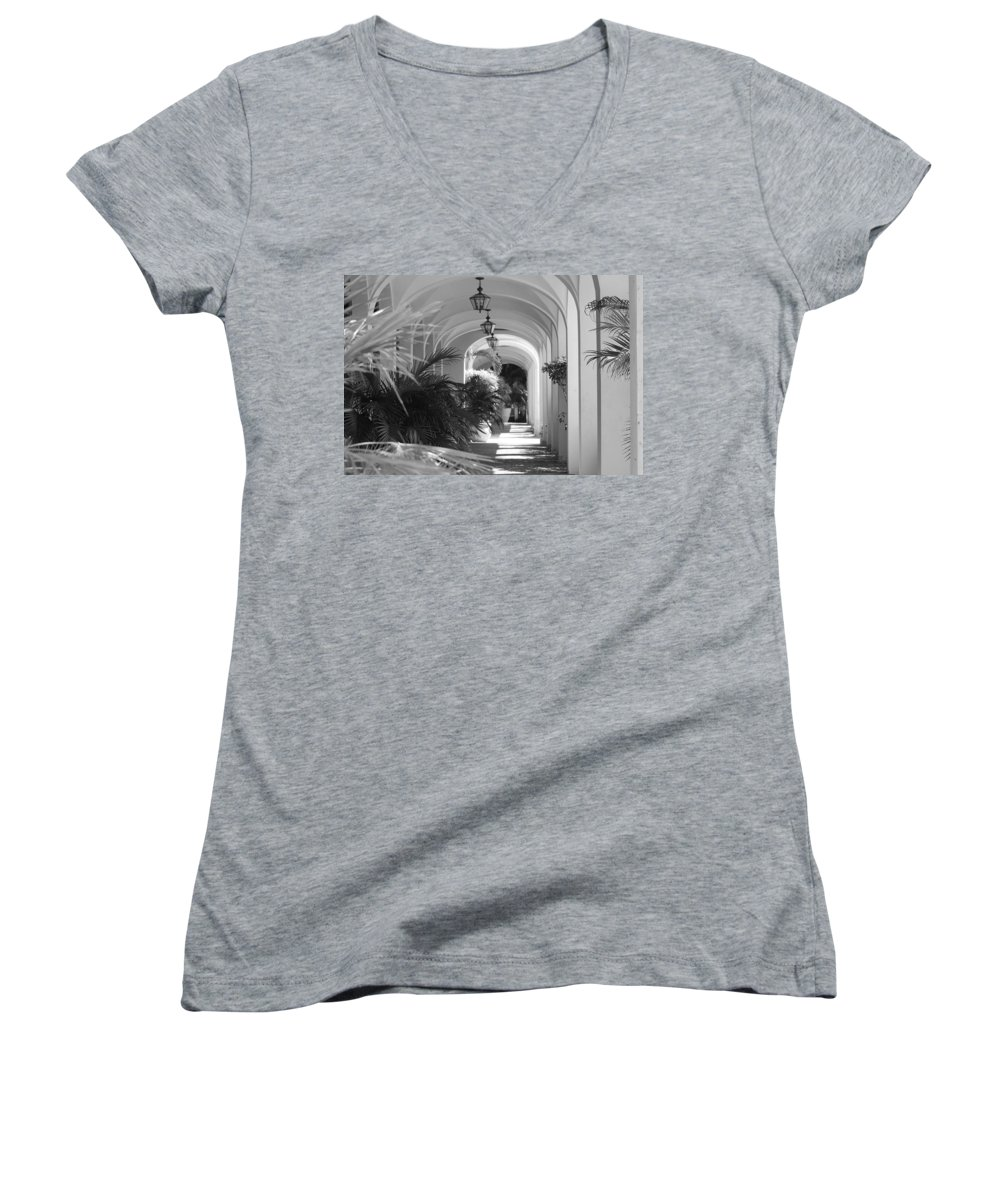 Architecture Women's V-Neck T-Shirt featuring the photograph Lighted Arches by Rob Hans