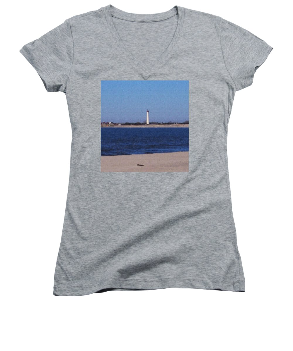 Lighthouse Women's V-Neck T-Shirt featuring the photograph Lighthouse At The Point by Pharris Art