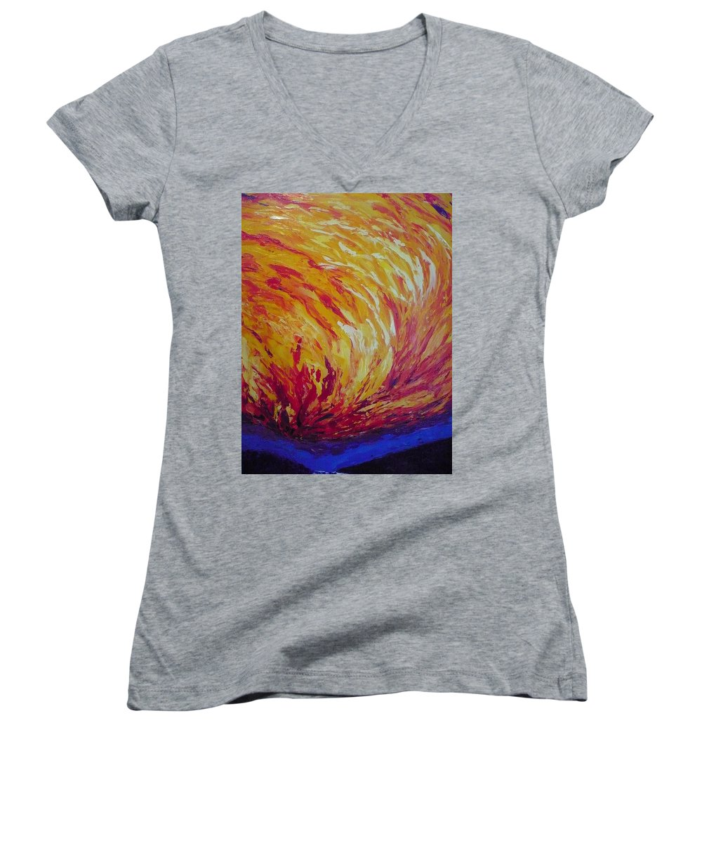 Fire Women's V-Neck T-Shirt featuring the painting Lighting A Match by Ericka Herazo