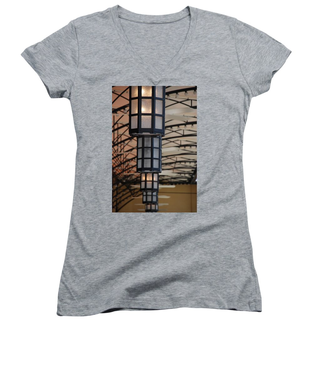 Architecture Women's V-Neck T-Shirt featuring the photograph Lights At City Place by Rob Hans