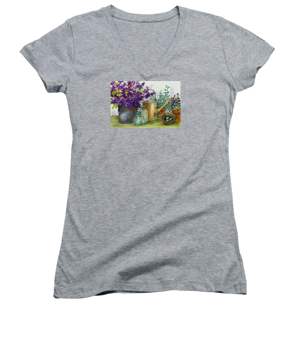 Still Life;lilacs; Ball Jars; Watering Can;bird Nest; Bird Eggs; Women's V-Neck T-Shirt featuring the painting Lilacs And Ball Jars by Lois Mountz