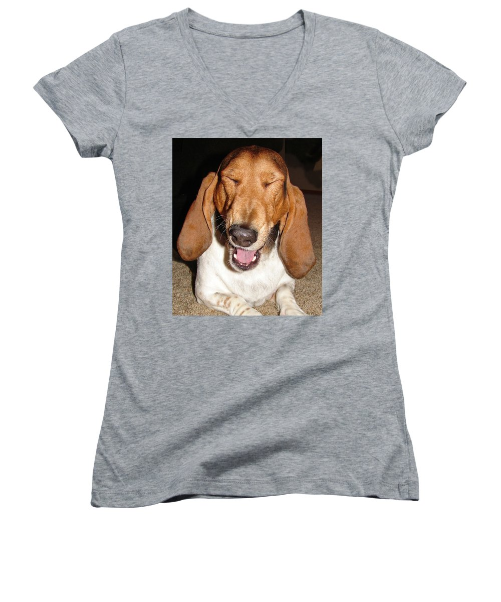 Basset Hound Women's V-Neck (Athletic Fit) featuring the photograph Lillard by Heather Coen