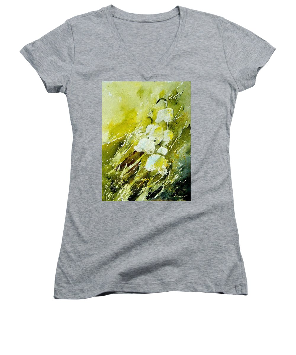Flowers Women's V-Neck T-Shirt featuring the painting Lilly Of The Valley by Pol Ledent
