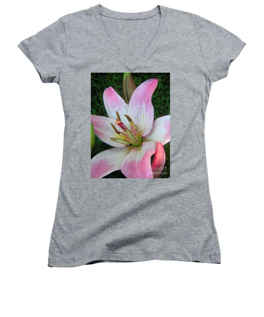 Nature Women's V-Neck T-Shirt featuring the photograph Lily Singled Out by Lucyna A M Green