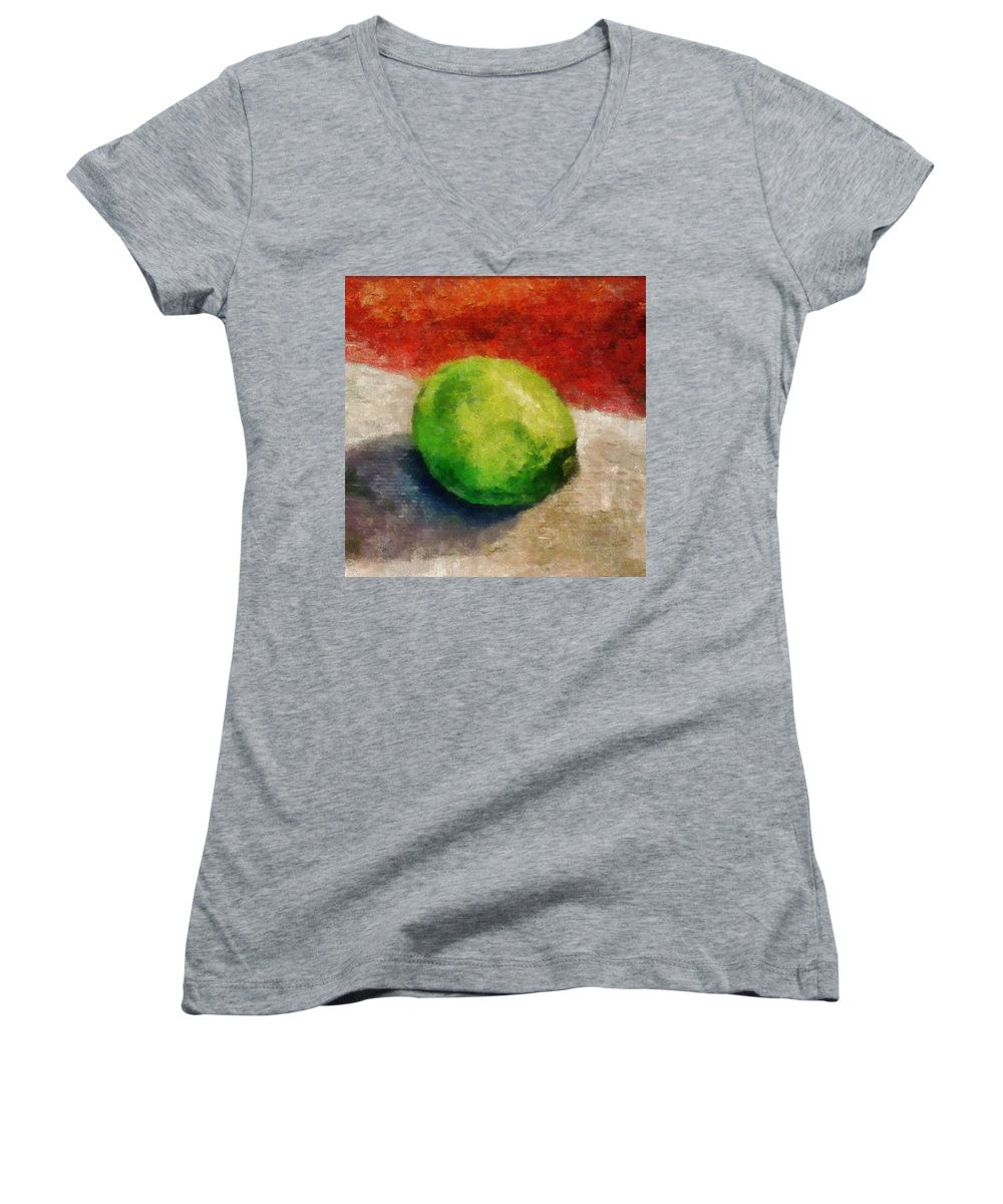 Lime Women's V-Neck T-Shirt featuring the painting Lime Still Life by Michelle Calkins