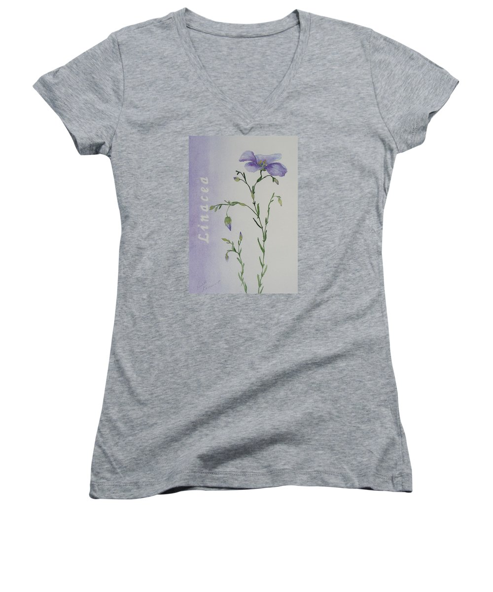 Flower Women's V-Neck T-Shirt featuring the painting Linacea by Ruth Kamenev