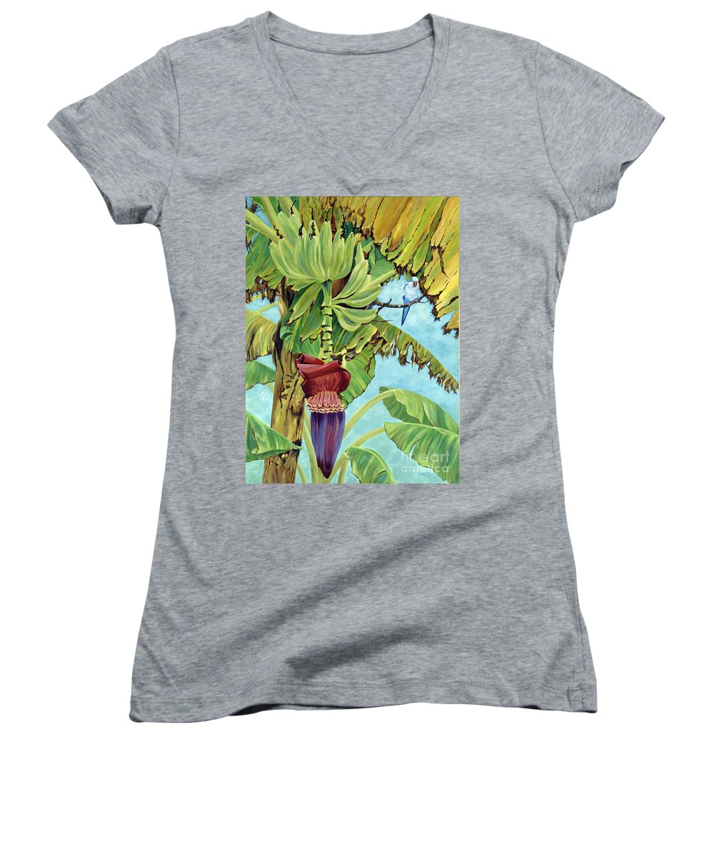 Tropical Women's V-Neck (Athletic Fit) featuring the painting Little Blue Quaker by Danielle Perry