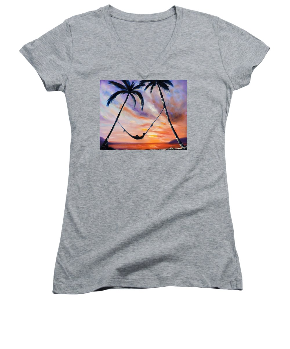 Sunset Women's V-Neck (Athletic Fit) featuring the painting Living The Dream by Gina De Gorna