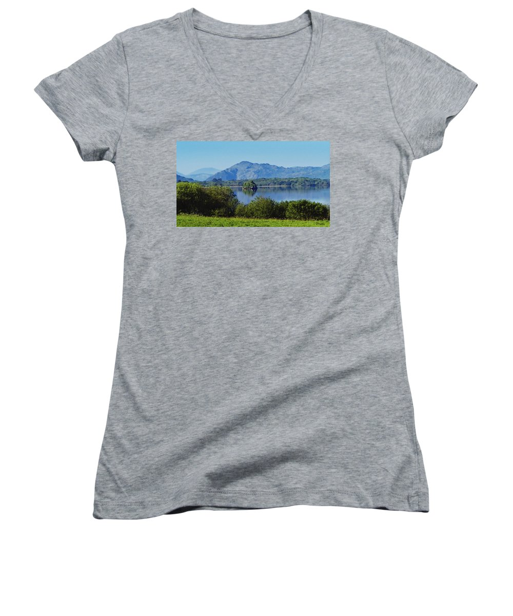 Irish Women's V-Neck (Athletic Fit) featuring the painting Loch Leanne Painting Killarney Ireland by Teresa Mucha