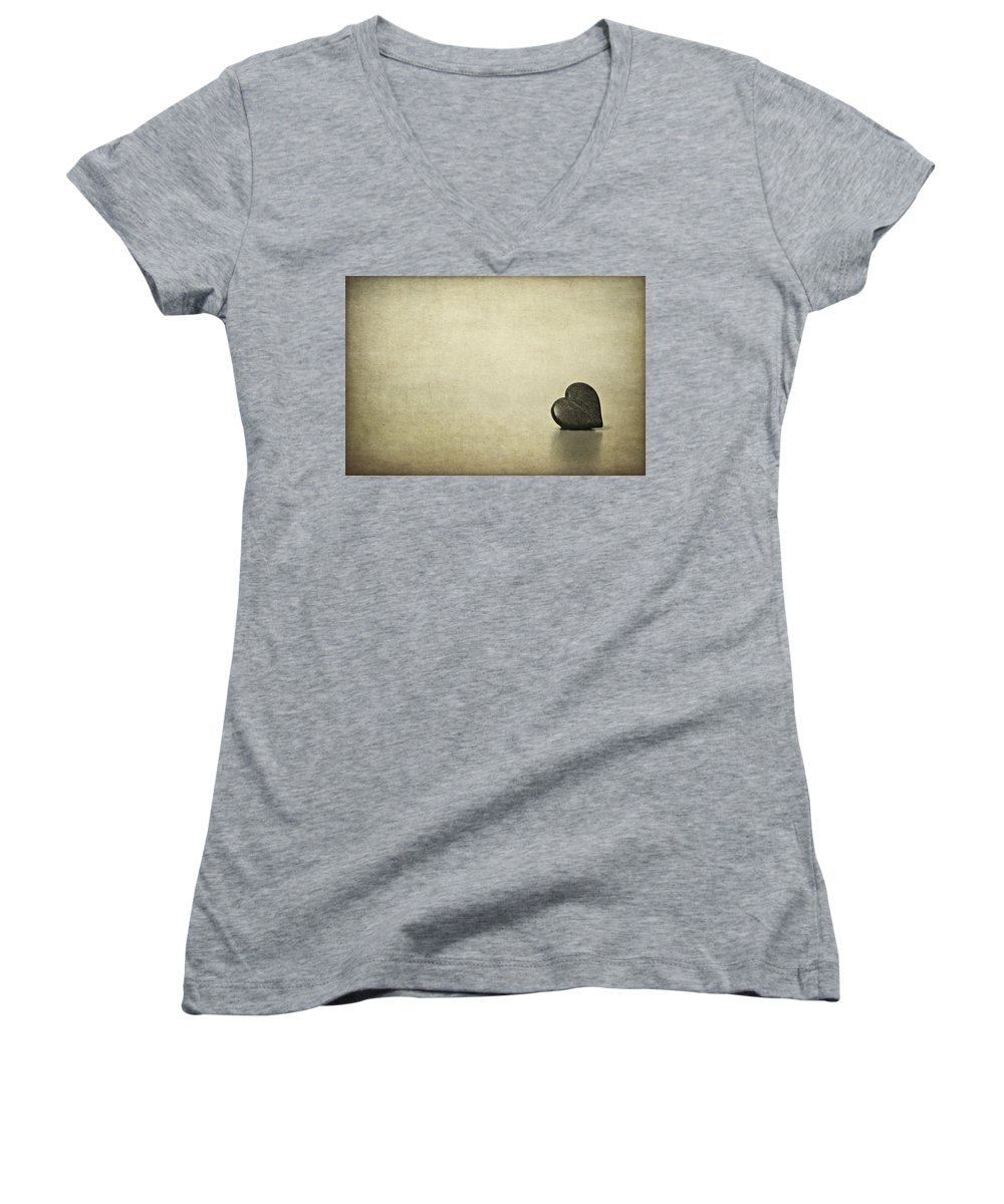 Heart Women's V-Neck featuring the photograph Longing by Evelina Kremsdorf