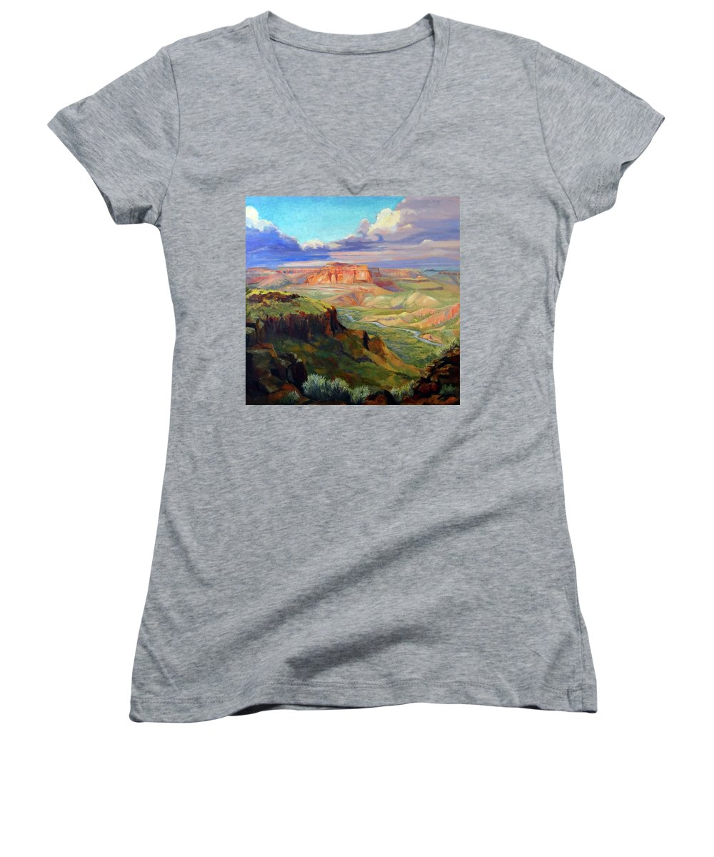 Landscape Women's V-Neck T-Shirt featuring the painting Look Out At White Rock by Nancy Paris Pruden