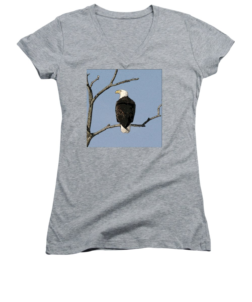 Eagle Women's V-Neck T-Shirt featuring the photograph Look Out by Robert Pearson