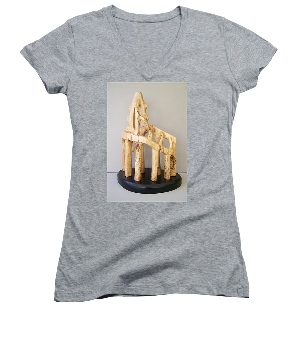 Wood-carving-sculpture-abstract- Women's V-Neck T-Shirt featuring the sculpture Lost Glory by Norbert Bauwens