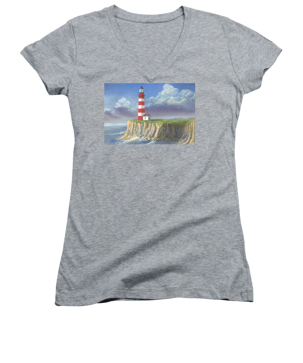 Light Women's V-Neck T-Shirt featuring the painting Lost Point Light by Jerry McElroy