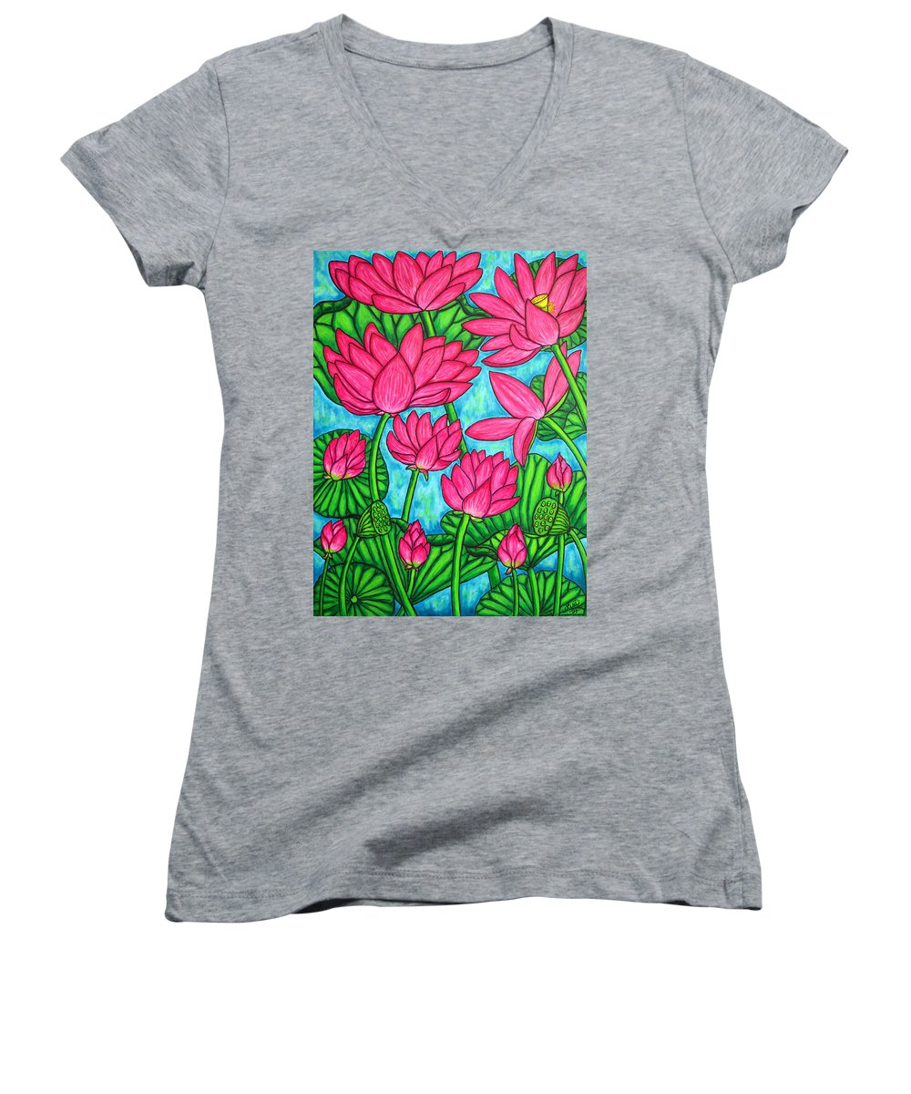 Women's V-Neck T-Shirt featuring the painting Lotus Bliss by Lisa Lorenz