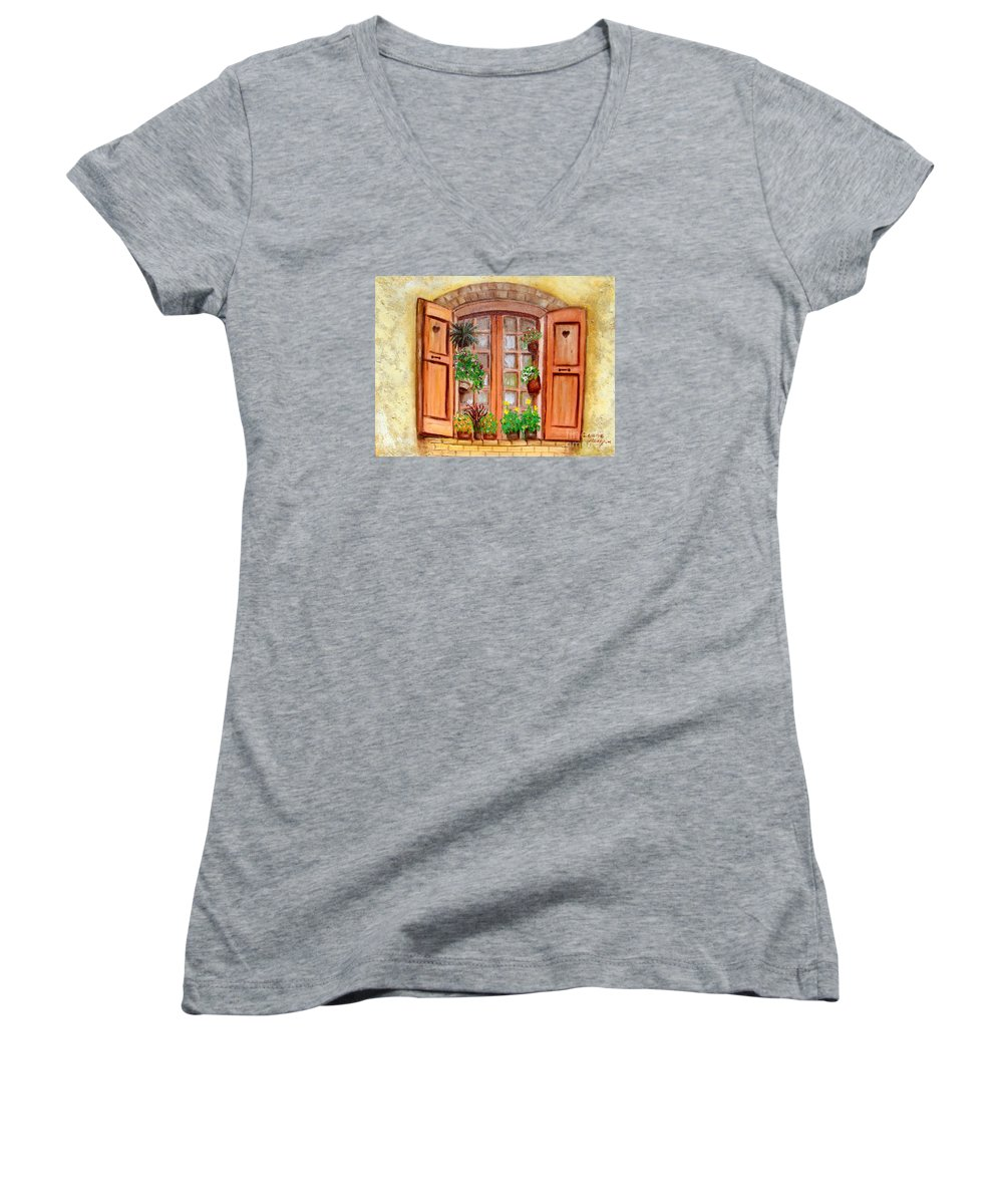 Windows Women's V-Neck T-Shirt featuring the painting Love Nest by Laurie Morgan