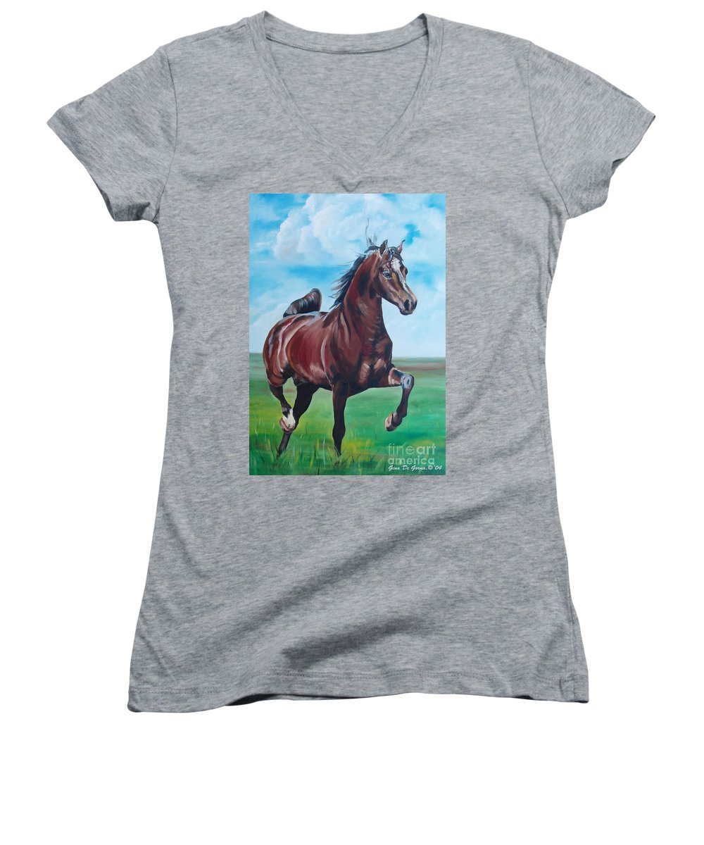 Horse Women's V-Neck T-Shirt featuring the painting Lovely by Gina De Gorna