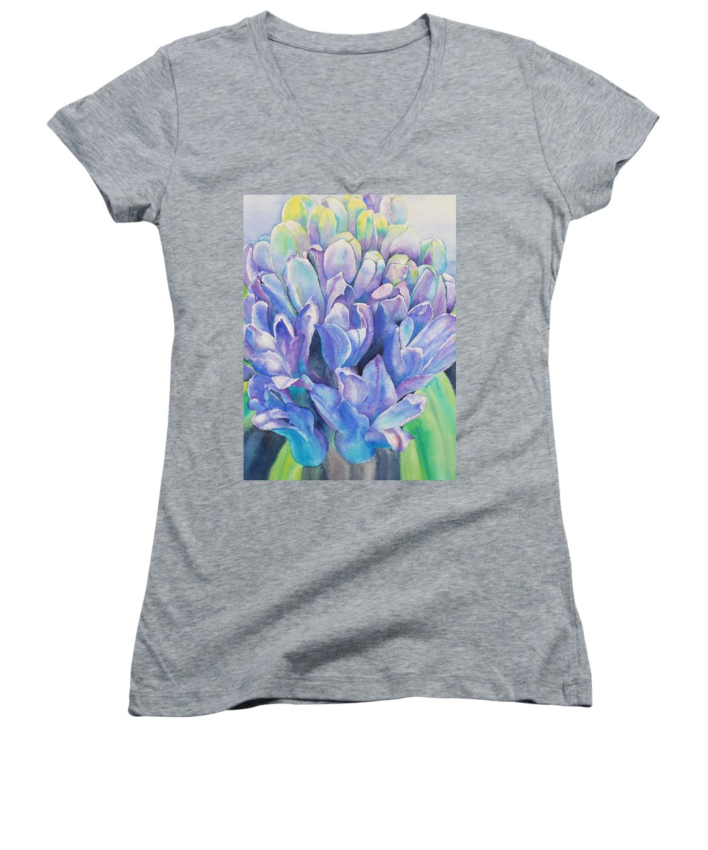 Flower Women's V-Neck (Athletic Fit) featuring the painting Lovely Lupine by Ruth Kamenev