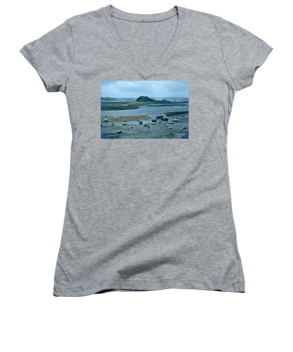 Low Tide Women's V-Neck T-Shirt featuring the photograph Low Tide by Flavia Westerwelle