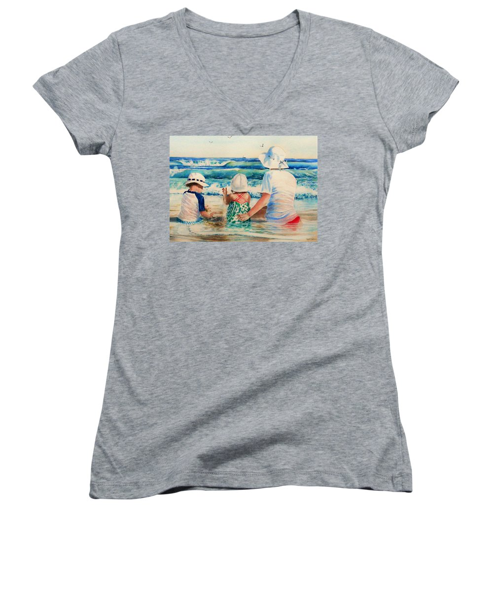 Beach Women's V-Neck (Athletic Fit) featuring the painting Low Tide by Tom Harris