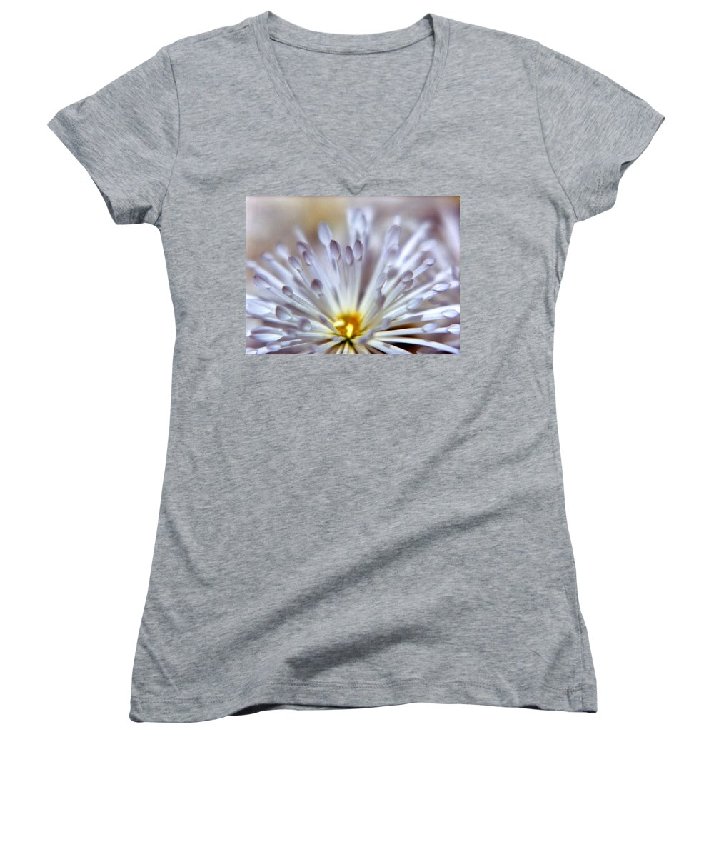 Macro Women's V-Neck T-Shirt featuring the photograph Macro Flower 3 by Lee Santa