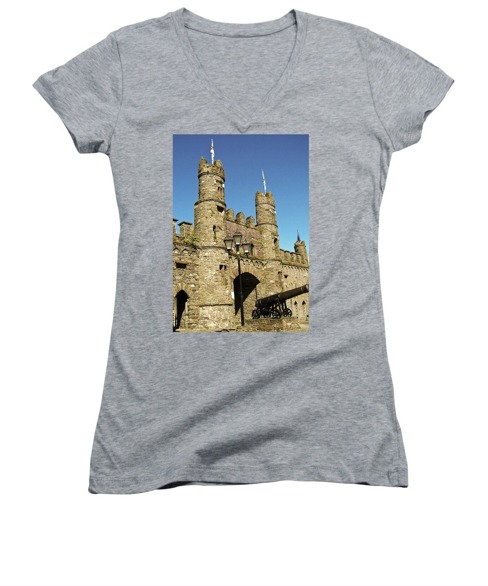 Irish Women's V-Neck T-Shirt featuring the photograph Macroom Castle County Cork Ireland by Teresa Mucha