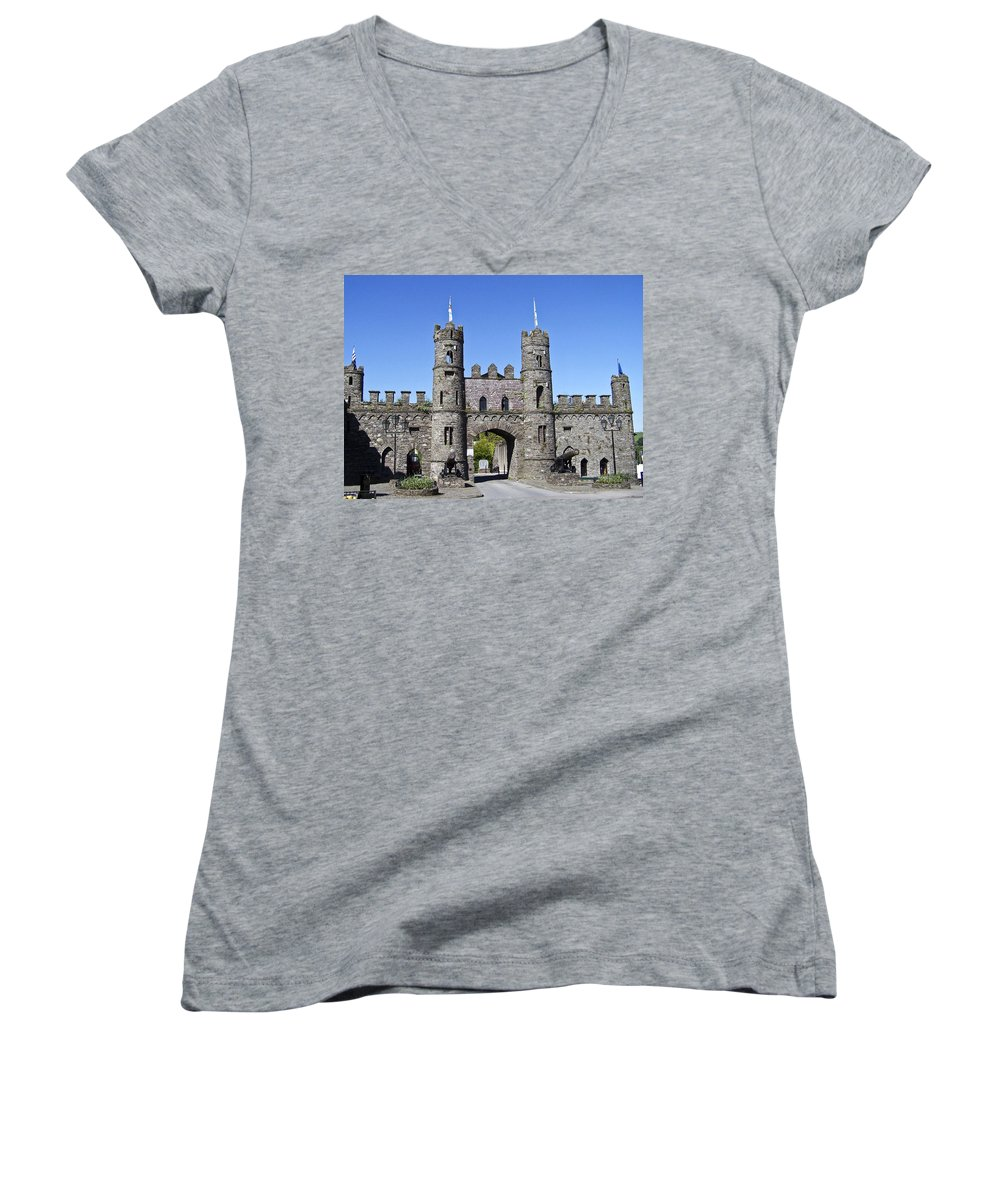 Irish Women's V-Neck (Athletic Fit) featuring the photograph Macroom Castle Ireland by Teresa Mucha
