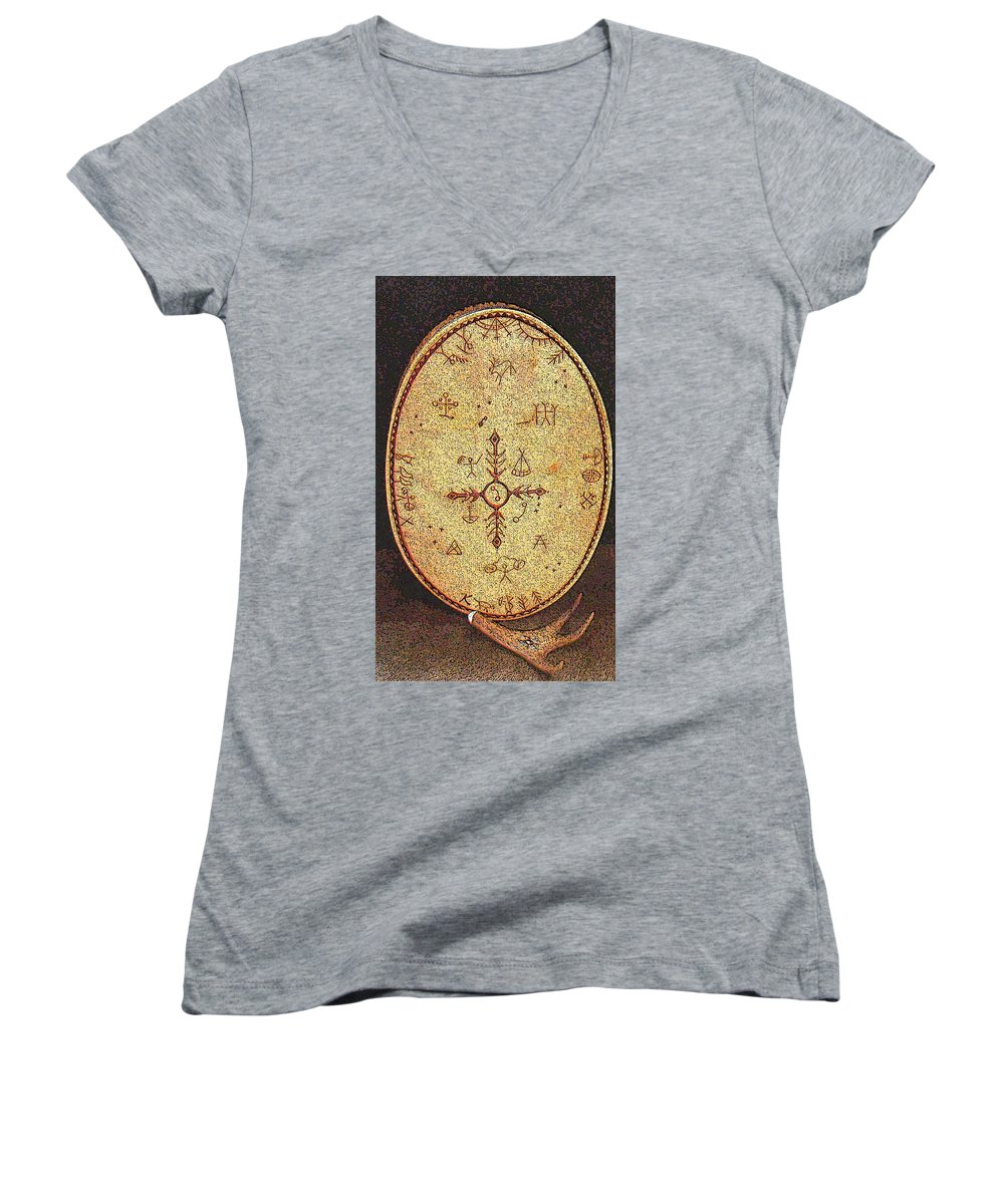 Magic Drum Women's V-Neck T-Shirt featuring the photograph Magic Drum by Merja Waters