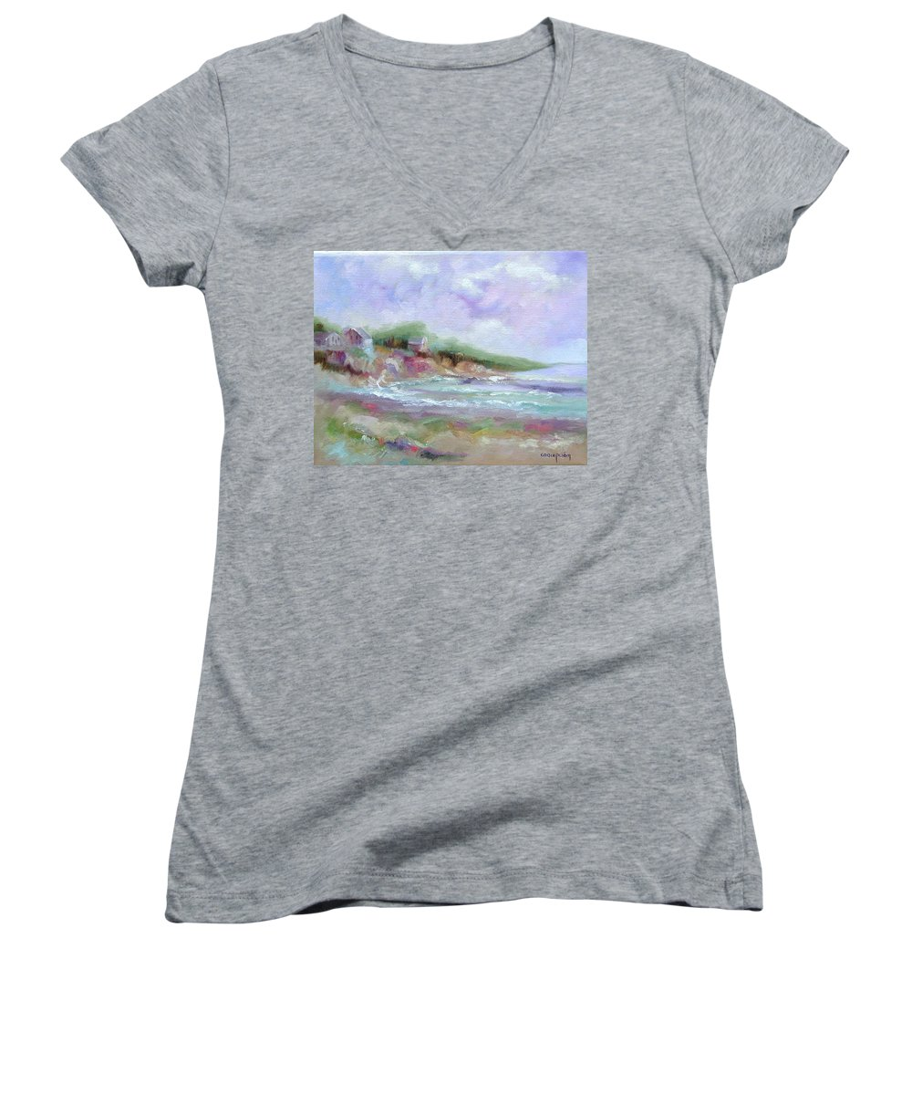 Maine Coastline Women's V-Neck T-Shirt featuring the painting Maine Coastline by Ginger Concepcion