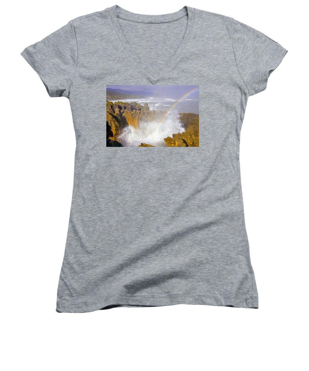 Paparoa Women's V-Neck (Athletic Fit) featuring the photograph Making Miracles by Mike Dawson