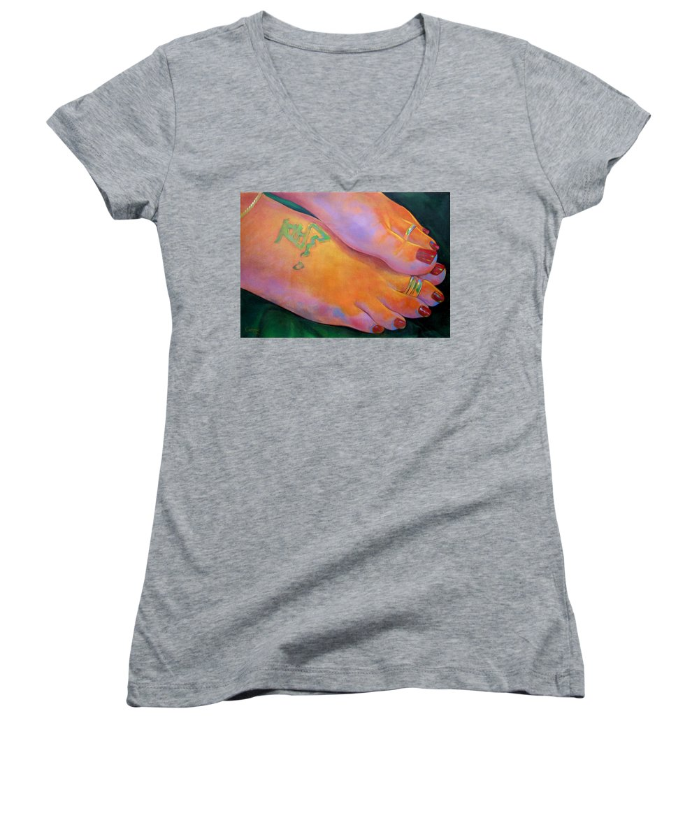 Toes Women's V-Neck (Athletic Fit) featuring the painting Mandy Toes Orange by Jerrold Carton